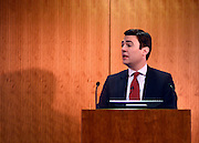 © Licensed to London News Pictures. 24/01/2013. London, UK  Shadow Health Secretary Andy Burnham delivers a speech at the Kings Fund this morning 24th January 2013. Today the Labour Party launched its Whole Person Care policy review. Photo credit : Stephen Simpson/LNP