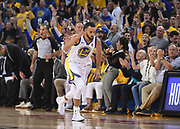 May 26, 2018; Oakland, CA, USA; Golden State Warriors guard Stephen Curry (30) reacts after a basket against the Houston Rockets in the first half in game six of the Western conference finals of the 2018 NBA Playoffs at Oracle Arena.