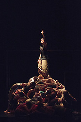 © Licensed to London News Pictures. 10/04/2015. London, England. Harry Galloway at the top. Dress rehearsal of Frame[d]. The National Youth Dance Company returns to Sadler's Wells to premiere Frame[d], a new work created by the 2014-15 Guest Artistic Director Sidi Larbi Cherkaoui. The performance takes place on 10 April 2015 with dancers of the ages from 15 to 20. Photo credit: Bettina Strenske/LNP
