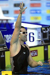 Peter Mankoc of Slovenia reacts after winning men's 100m medley race (9th times European Champion) and setting the European record with time 51.97 during day 4 of LEN European Short Course Swimming Championships Rijeka 2008, on December 14, 2008,  in Kantrida pool, Rijeka, Croatia. (Photo by Vid Ponikvar / Sportida)