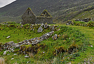 Remains of a cottage in the Graignagower Valley in Co. Kerry, Ireland.