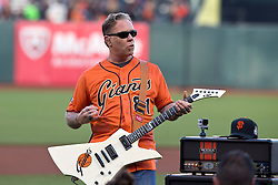 SAN FRANCISCO, CA - MAY 16:  Recording artist James Hetfield of the rock band Metallica performs the national anthem before the game between the San Francisco Giants and the Miami Marlins at AT&T Park on May 16, 2014 in San Francisco, California.  The Miami Marlins defeated the San Francisco Giants 7-5.  (Photo by Jason O. Watson/Getty Images) *** Local Caption *** James Hetfield