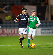 24th January 2018, Dens Park, Dundee, Scottish Premiership, Dundee versus Hibernian; Dundee's Jesse Curran and Hibernian's Brandon Barker