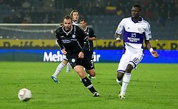 20.10.2011, UPC Arena, Graz, AUT, UEFA Europa League, Sturm Graz (AUT) vs RSC Anderlecht (BEL), im Bild Mario Haas (SK Sturm Graz, #7, Offense) und Cheikhou Kouyate (RSC Anderlecht, Midfield, #16) // during UEFA Europa League football game between Sturm Graz (AUT) and RSC Anderlecht (BEL) at UPC Arena in Graz, Austria on 20/10/2011. EXPA Pictures © 2011, PhotoCredit: EXPA/ E. Scheriau
