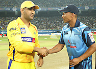 Chennai Super Kings captain MS Dhoni and Titans captain Henry Davids shake hands after the toss during match 3 of the Karbonn Smart Champions League T20 (CLT20) 2013  between The Chennai Superkings and the Titans held at the JSCA International Cricket Stadium, Ranchi on the 22nd September 2013<br /> <br /> Photo by Ron Gaunt-CLT20-SPORTZPICS  <br /> <br /> Use of this image is subject to the terms and conditions as outlined by the CLT20. These terms can be found by following this link:<br /> <br /> http://sportzpics.photoshelter.com/image/I0000NmDchxxGVv4