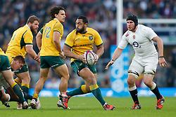 Australia Prop Sekope Kepu is challenged by England Number 8 Ben Morgan - Photo mandatory by-line: Rogan Thomson/JMP - 07966 386802 - 29/11/2014 - SPORT - RUGBY UNION - London, England - Twickenham Stadium - England v Australia - QBE Autumn Internationals.