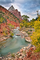 The Virgin River flowing from the Court of the Patriarchs in Zion National Park, Utah.