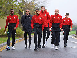 CARDIFF, WALES - Sunday, October 13, 2019: Wales' (L-R) Rabbi Matondo, captain Gareth Bale, Neil Taylor, goalkeeper Wayne Hennessey and Jonathan Williams during a pre-match team walk at the Vale Resort ahead of the UEFA Euro 2020 Qualifying Group E match between Wales and Croatia. (Pic by David Rawcliffe/Propaganda)