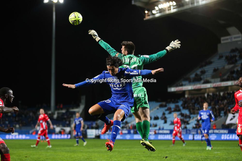 Francois MODESTO / Jesper HANSEN - 03.12.2014 - Bastia / Evian Thonon - 16eme journee de Ligue 1 <br />Photo : Michel Maestracci / Icon Sport