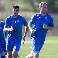 St Johnstone Training...24.04.15<br /> Frazer Wright and Brian Graham pictured in training this morning at McDiarmid Park ahead of tomorrow's game at Dundee<br /> Picture by Graeme Hart.<br /> Copyright Perthshire Picture Agency<br /> Tel: 01738 623350  Mobile: 07990 594431