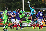 Exeter City goalkeeper Christy Pym(1) makes a save during the EFL Sky Bet League 2 match between Forest Green Rovers and Exeter City at the New Lawn, Forest Green, United Kingdom on 9 September 2017. Photo by Shane Healey.