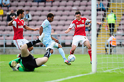 GOAL. Lead up to Bristol City's first goal which makes it 3 - 1  - Photo mandatory by-line: Dougie Allward/JMP - Tel: Mobile: 07966 386802 11/08/2013 - SPORT - FOOTBALL - Sixfields Stadium - Sixfields Stadium -  Coventry V Bristol City - Sky Bet League One
