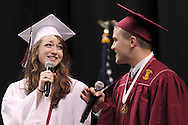 Danielle Ondreka (left) and Wade Farr perform during the 142nd annual Lebanon High School commencement at the Nutter Center in Fairborn, Saturday, May 26, 2012.