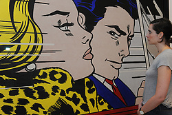 © Licensed to London News Pictures. 21/10/2013. London, UK. A woman views in The Car by Roy Lichenstein at The Pop Art Design Exhibition preview at The Barbican Centre. Photo credit : David Mirzoeff/LNP