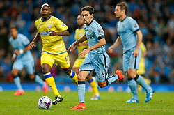 Jesus Navas of Manchester City in action - Photo mandatory by-line: Rogan Thomson/JMP - 07966 386802 - 24/08/2014 - SPORT - FOOTBALL - Manchester, England - Etihad Stadium - Manchester City v Sheffield Wednesday - Capital One Cup, Third Round.