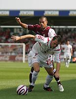 Photo: Lee Earle. <br /> Northampton Town v Swindon Town. Coca Cola Championship. 11/08/2007. <br /> Swindon's Ibon Arieta (F) battles with Jason Crowe.
