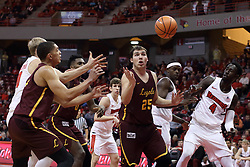 10 January 2018:  Seven of the ten players on the court look on as the ball makes a getaway during a College mens basketball game between the Loyola Chicago Ramblers and Illinois State Redbirds in Redbird Arena, Normal IL