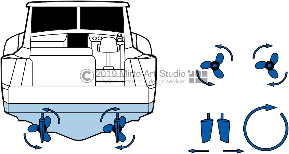 A vector illustration of a 35 foot power boat