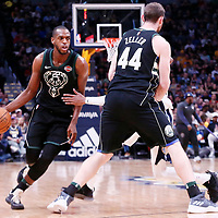 01 April 2018: Milwaukee Bucks forward Khris Middleton (22) drives on a screen set by Milwaukee Bucks center Tyler Zeller (44) during the Denver Nuggets 128-125 victory over the Milwaukee Bucks, at the Pepsi Center, Denver, Colorado, USA.