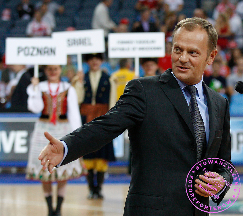 Wroclaw 07/09/2009.EuroBasket 2009.Preliminary Round - Group D.Poland v Bulgaria.Prime minister of Poland Donald Tusk during the opening ceremony ..Photo by : Piotr Hawalej / WROFOTO