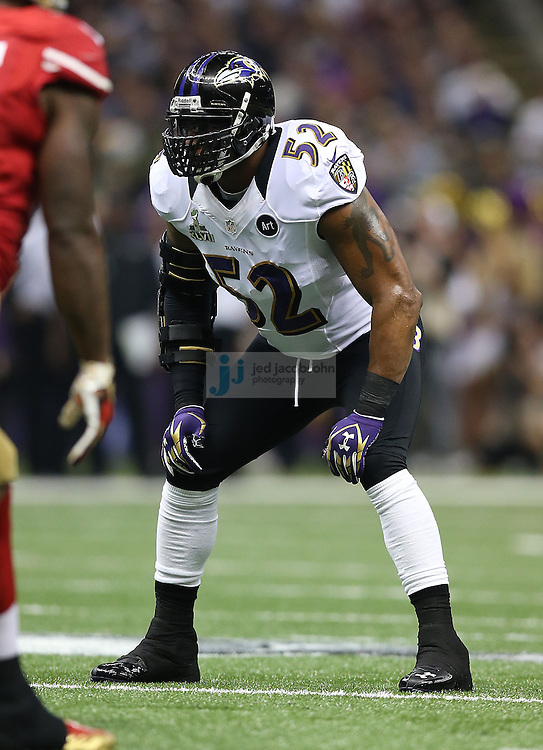 Ray Lewis (52) of the Baltimore Ravens in action against the San Francisco 49ers during the NFL Super Bowl XLVII football game in New Orleans on Feb. 3, 2013. The Ravens won the game, 34-31.  (Photo by Jed Jacobsohn)