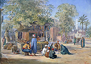 Scene in Egypt Town', c1869. Watercolour and pencil.  Henry Pilleau (1813-1899) English artist.  Street scene with figures of men and veiled women,  shop/stall in shade of tree, minaret in right bakground.