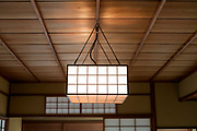 ceiling with light in a traditional Japanese garden teahouse