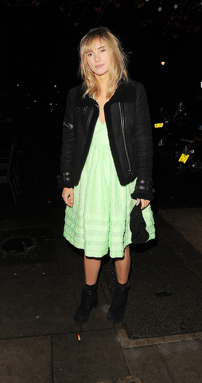 Suki Waterhouse arrives at the Love Magazine Christmas party in London. UK. 17/12/2013<br />