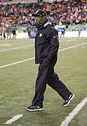 Pittsburgh Steelers assistant head coach / defensive line coach John Mitchell walks on the field before the NFL AFC Wild Card playoff football game against the Cincinnati Bengals on Saturday, Jan. 9, 2016 in Cincinnati. The Steelers won the game 18-16. (©Paul Anthony Spinelli)