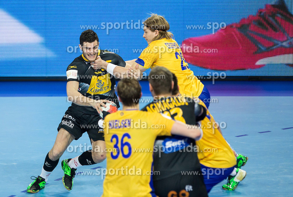Niko Mindegia of Spain vs Andreas Cederholm of Sweden during handball match between National teams of Spain and Sweden on Day 6 in Preliminary Round of Men's EHF EURO 2016, on January 20, 2016 in Centennial Hall, Wroclaw, Poland. Photo by Vid Ponikvar / Sportida
