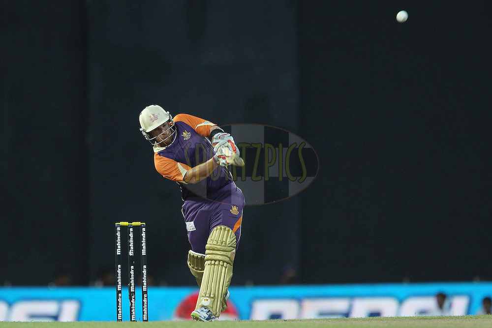 Aaron Finch dispatches a six during match 17 of the Sri Lankan Premier League between Basnahira Cricket Dundee and Ruhuna Royals held at the Premadasa Stadium in Colombo, Sri Lanka on the 25th August 2012. .Photo by Ron Gaunt/SPORTZPICS/SLPL
