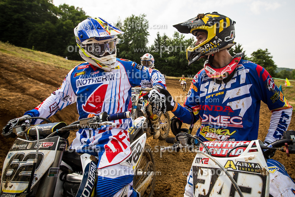Tim Gajser and Klemen Gercar during MX Open and MX2 National Championship of Slovenia on 17 of May 2015 in Prilipe, Brezice, Slovenia. (Photo by Grega Valancic / Sportida.com)