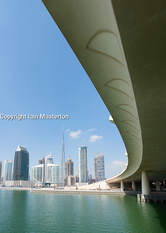 Skyline of skyscrapers beside The Creek at  Business Bay in Dubai United Arab Emirates