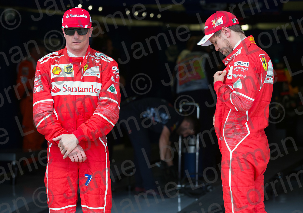The 2017 Formula 1 Rolex British Grand Prix at Silverstone Circuit, Northamptonshire.<br /> <br /> Pictured: Ferrari's Kimi Raikkonen and Sebastian Vettel qualify second and third on the grid at the British F1 Grand Prix.<br /> <br /> Jamie Lorriman<br /> mail@jamielorriman.co.uk<br /> www.jamielorriman.co.uk<br /> +44 7718 900288
