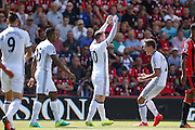 Wayne Rooney Forward of Manchester United celebrates his goal with Ander Herrera Midfielder of Manchester United 0-2 during the Premier League match between Bournemouth and Manchester United at the Vitality Stadium, Bournemouth, England on 14 August 2016. Photo by Phil Duncan.