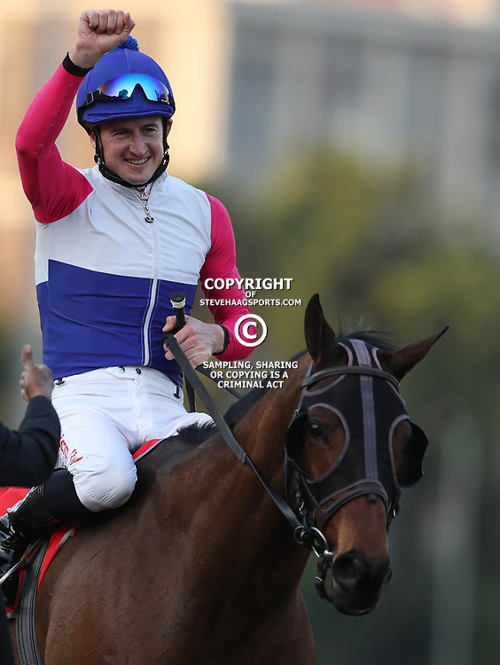 MARINARESCO (Jockey) Bernard Fayd'Herbe (Trainer) Candice Bass-Robinson during RACE 7 THE VODACOM DURBAN JULY (Grade 1) - 2200m &ndash; R4 250 000 at THE VODACOM DURBAN JULY at Greyville Racecourse in Durban, South Africa on 1st July 2017<br /> Photo by:  Steve Haag Sports