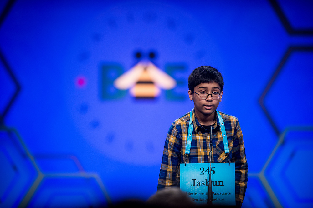 Jashun Paluru, 12, from West Lafayette, Ind.,  participates in the finals of the 2017 Scripps National Spelling Bee on Thursday, June 1, 2017 at the Gaylord National Resort and Convention Center at National Harbor in Oxon Hill, Md.      Photo by Pete Marovich/UPI