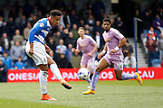Queens Park Rangers defender Cole Kpekawa (34)  plays a pass to his keeper during the Sky Bet Championship match between Queens Park Rangers and Reading at the Loftus Road Stadium, London, England on 23 April 2016. Photo by Andy Walter.