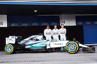 (L to R): Lewis Hamilton (GBR) Mercedes AMG F1; Pascal Wehrlein (GER) Mercedes AMG F1 Reserve Driver; and Nico Rosberg (GER) Mercedes AMG F1 with the Mercedes AMG F1 W06.<br /> Formula One Testing, Day One, Sunday 1st February 2015. Jerez, Spain.