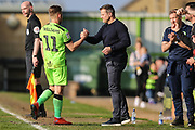 Forest Green Rovers George Williams(11) goalscorer is subbed and congratulated by Forest Green Rovers manager, Mark Cooper during the EFL Sky Bet League 2 match between Forest Green Rovers and Milton Keynes Dons at the New Lawn, Forest Green, United Kingdom on 30 March 2019.