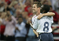 Photo: Rich Eaton.<br /> <br /> England v Russia. UEFA European Championships Qualifying. 12/09/2007. England's Shaun Wright-Phillips (R) celebrates after Michael Owen (L) scores his second goal of the game