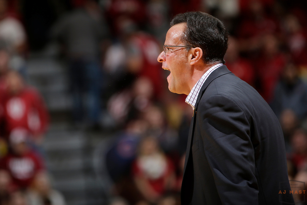 Indiana head coach Tom Crean in action as Nebraska played Indiana in an NCCA college basketball game in Bloomington, Ind., Wednesday, Dec. 28, 2016. (AJ Mast via AP Images)