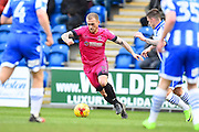 Hartlepool player Lewis Alessandra cuts inside with the ball in the first half during the EFL Sky Bet League 2 match between Colchester United and Hartlepool United at the Weston Homes Community Stadium, Colchester, England on 25 February 2017. Photo by Ian  Muir.
