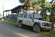 Raleigh International tourism development project. Landrover parked outside our accomadation, formally the village goat shed. Phase 2 Alpha 2: Batu Puteh Eco Lodge building project, Sabah, Malaysian Borneo, Spring 2008