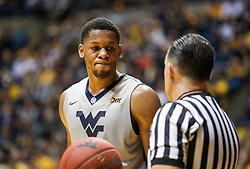 Dec 5, 2017; Morgantown, WV, USA; West Virginia Mountaineers forward Sagaba Konate (50) talks to an official during the first half against the Virginia Cavaliers at WVU Coliseum. Mandatory Credit: Ben Queen-USA TODAY Sports