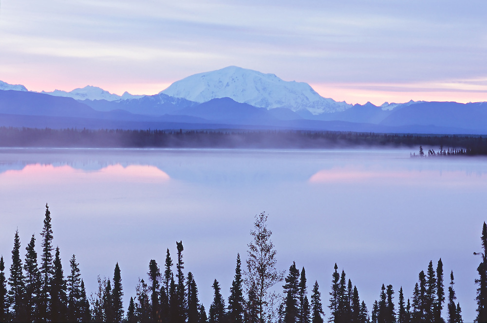 Mt. Wrangell with Willow Lake in the foreground at Wrangell-St. Elias National Park in Alaska.  Fall.  Morning.