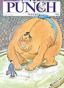 Punch. (British businessman faces giant Sumo wrestler. Front cover 22 April 1987)