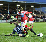 Forfar's Darren Dodds tackles Brechin's Craig Wighton - Forfar Athletic v Brechin City - SPFL League One at Station Park<br /> <br />  - &copy; David Young - www.davidyoungphoto.co.uk - email: davidyoungphoto@gmail.com