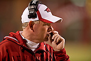 Nov 12, 2011; Fayetteville, AR, USA;  Arkansas Razorbacks head coach Bobby Petrino stands on the sidelines during a game against the Tennessee Volunteers at Donald W. Reynolds Razorback Stadium. Arkansas defeated Tennessee 49-7. Mandatory Credit: Beth Hall-US PRESSWIRE