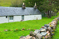 Farm building and stone wall, Glen Nevis Scotland